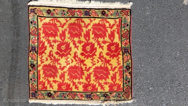 Sempre i gialli!  Sorry, having to bore you to death with another small piece with stupendous colours.  Bijar,ca.1860  , using the pattern of a Ming chinese peony textile as a model.  Non plus ultra.