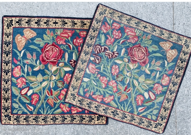 Antique Pair Kerman Lavar 1870 circa,,in very good condition size 60x60cm.61x61cm