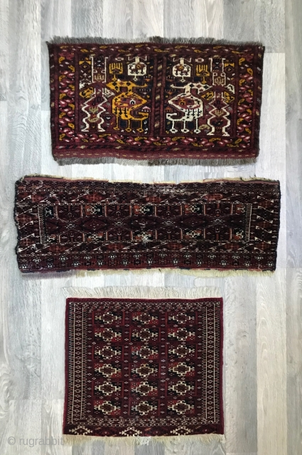 Lot of three Turkmen trappings. Ersari mafrash, Saryk torba and Tekke bagface. Condition is very good except for the Saryk torba which has some serious wear but also good age.