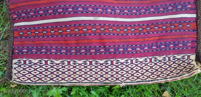 Turkmen Tekke flat-weave Khorjin. Complete and very finely woven. Lovely repeat of the Ak elem and very nice all natural colors. Measures 104x42 cm.