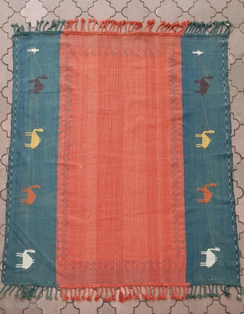 Fine old Caucasian Azeri flat-woven Karabagh shaddah kilim. Charming all natural dyes. In great condition. Size is 172x200 cm (78x68 inches).
