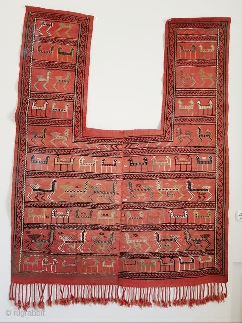 Antique caucasian Azeri verneh horse cover, rare Shirvan group. Size is 194 (115 w/o arms) x 157 cm.