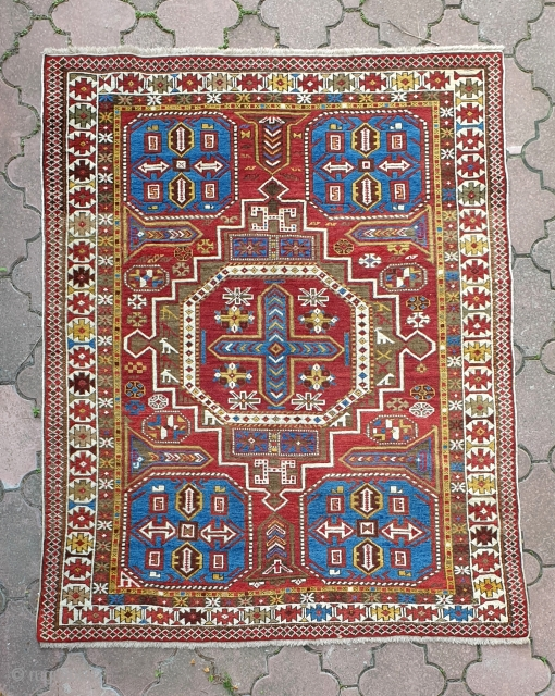 Antique classic Caucasian Konagkend rug, from Kuba region, Azerbaijan, with good bright colors and in overall near mint condition, with some corrosion of the brown pile, as is common in weavings of  ...