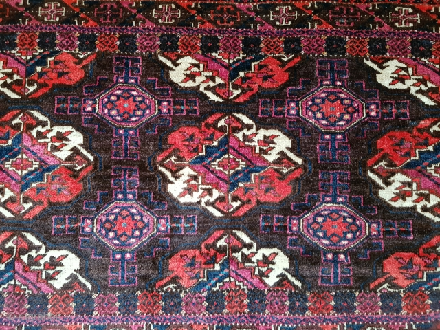 Wonderful rare type 19th century Turkmen Arabatchi three-gul chuval. 80X152 cm (31.5 x 60 inch). Magnificent color and wool quality. In full pile condition with minimal loss to the elem. Washed professionally  ...