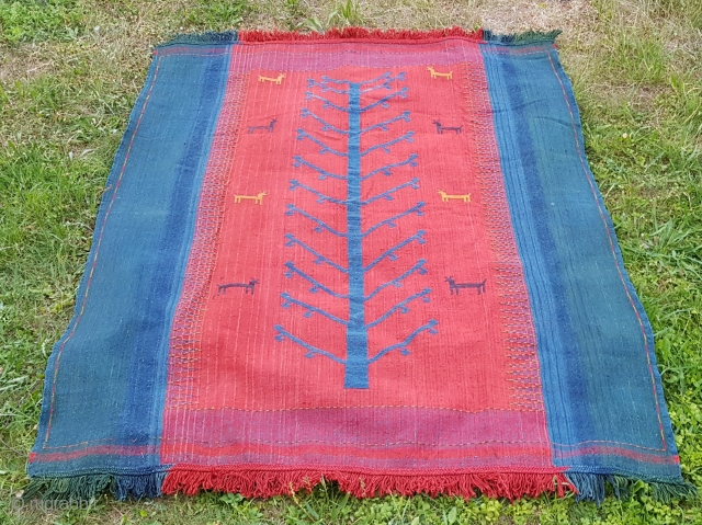 Fine early 20th century Azeri shaddah verneh with uncommon animal tree design and lovely natural colors. Great condition. Measures 148X180 cm (58X71 inches).