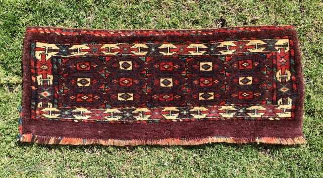 Fine 19th century Turkoman Yomud Group (Abdal) torba. Wonderful saturated colors, rare field and border design and rich soft wool. Complete with some slight moth bites. Priced to sell.