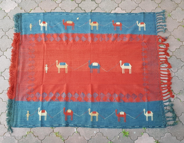 Gorgeous Caucasian Azeri village Verneh or shadda cover. Depicting three camel caravans. All natural dyes. Size is 172 x 200 cm. Very good condition.