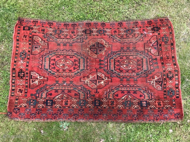 Very large Ersari Middle Amu Daria/ MAD chuval? 89 x 147 cm. Some silk highlights in main guls edges, also cotton in pile. Appears to be of good age with interesting spacious  ...