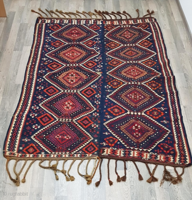 Solid rare antique Vam Kilim, of outstanding quality, tribal design details and great color. Excellent condition. All wool. Size is 224 x 156 cm. Clean and ready to use.