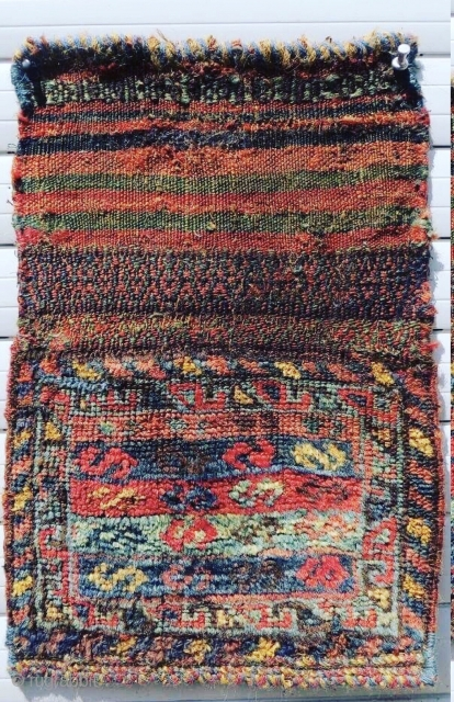 Qashqai Chanteh 1880circa all good colors,-size 25x44cm with Kilim
