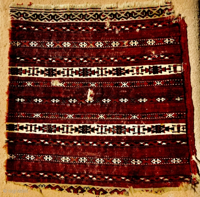 early 19th century fragment of Tekke Ak Chuval,the white color all in Cotton,42x42cm