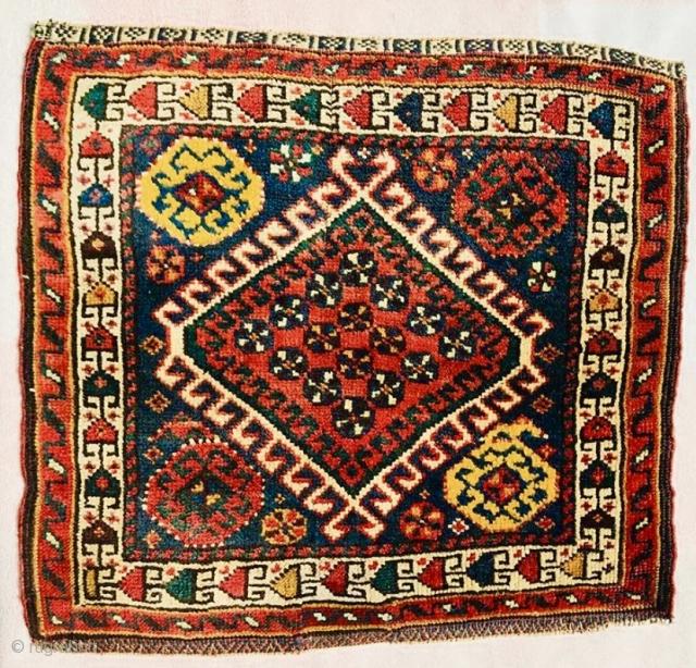 Qashqai bagface with afshari border 1880 circa)size 50x52cm