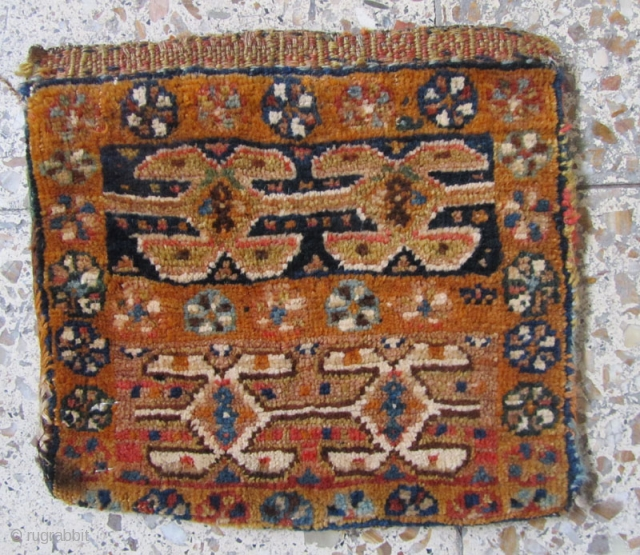 SW persia chanteh with nice colores in back kilim in fine condition.Size:26x28 cm