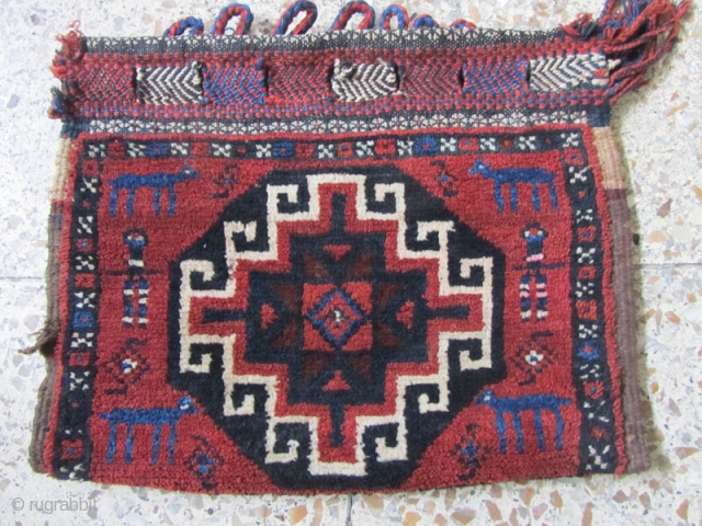 Afshar bag with a villagers restoration in back side.not washed.Size:33x42 cm.all colores except the repair part are ok