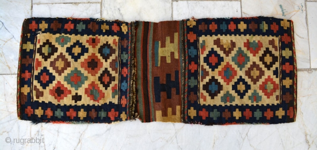 Shahsavan small khorjin.back kilim is joined by nomads,Size:79x29 cm