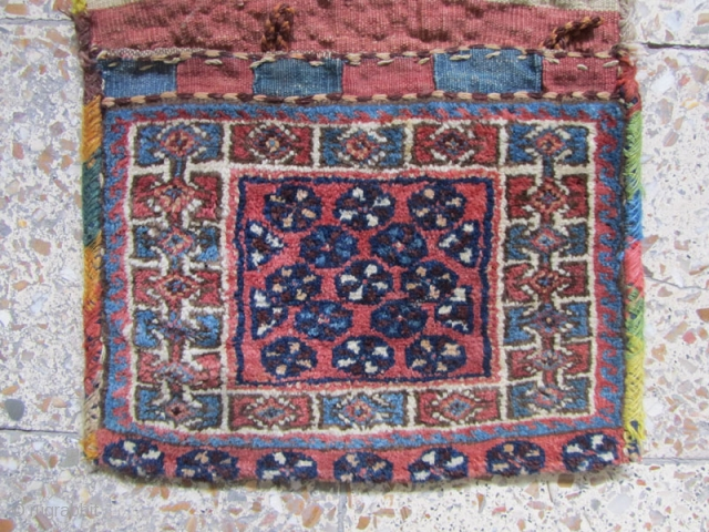 Small Afshar tribes saddlebag in perfect condition on wool foundation.Size:70x39 cm