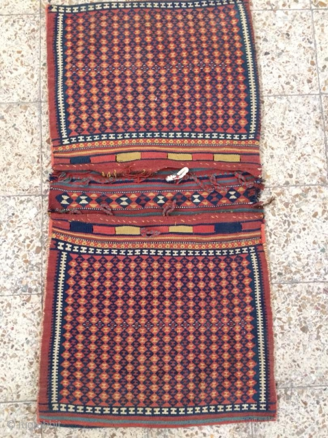 SW persia saddle bag from Arab tribes of shushtar,a small place in the bridje kilim corner needs repaire,Size:131 x 67 cm