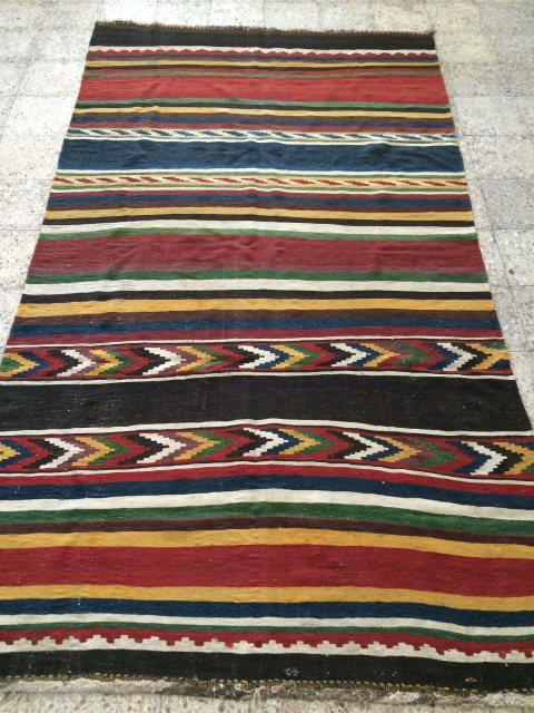Antique Bakhtiari kilim from Paradonbeh or sefid dasht Villages,Size:313X177 cm,4 or five small holes were repaied in the field using old wool,wool warp