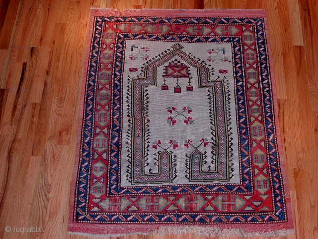 "Anatolian prayer rug,circa 1880,3´.2""x4´.0"",evenly low but in very much okay condition."