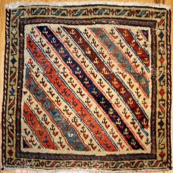"Shahsavan piled bag with stripes,circa 1870,1´.8""x1´.8"",good colors,minor repairs."
