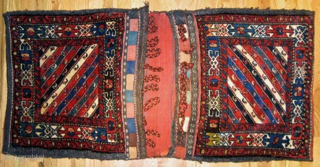 "Pair of Veramin saddlebags from North Persia in perfect original condition.The size is 2´.0""x3´.11"", great colors, rare design,circa 1890,original backing and soft handle."