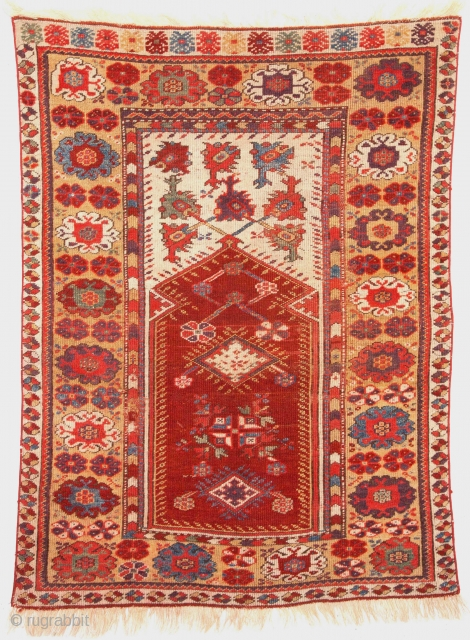 Mid 19th Century Melas Prayer Rug size 92x125 cm Very fine quality and lovely colors
