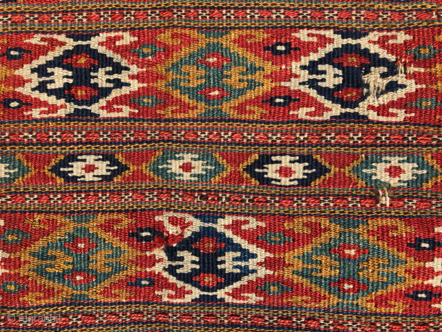 Colorful Balkan? Kilim c1880's  size 40x63 cm vegetable dyes