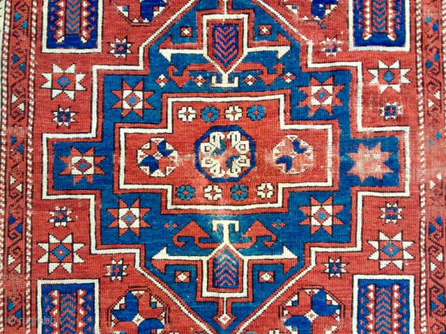 Mid 19th Century Bergama Rug size 147x202 cm as found it