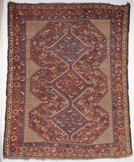 ca.1900 wonderful Kashqai rug ,,great Natural colours,,size:190x152 cm  6.3x5.2 ft