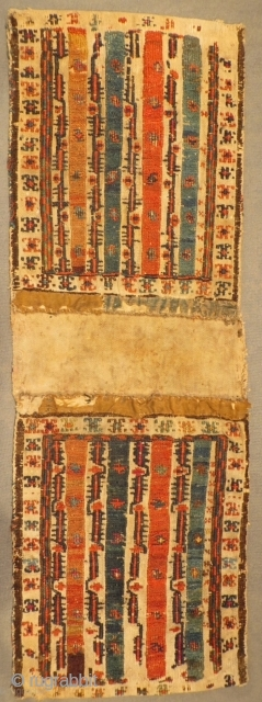 Shahsevan aria khamseh mini khorjin structure on cotton,age 1870 circa.size 64x21cm