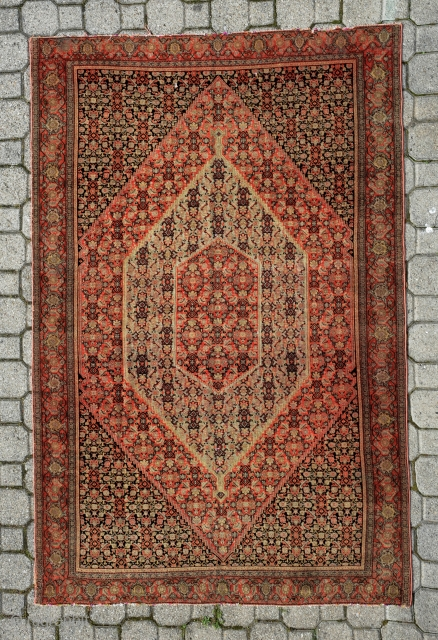 senneh rug 1860 circa wool on silk size 200x236cm,please inquire for more information and images