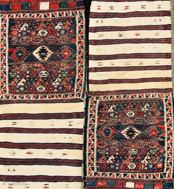 Pair fine shahsevan bags aria Kurdistan circa 1880,made with wool cotton and silk all natural colors- very good condition-size93x45cm