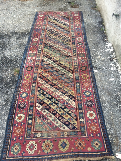 """An antique Talish rug 3rd Q or earlier with ALL browns oxidized, some areas of wear, measuring 3'.5"""" * 10'  . Missing Original side cord and some of ends.  Unsuall  ..."""