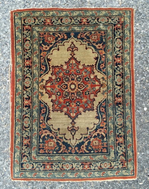 """Nice Small Haji Jalili Tabriz measuring 22"""" * 31"""". Damage to edges and old type dry glue on the back as shown, but easily removable."""