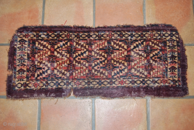 Antique Turkmen (Jomud) torba fragment, 91 x 37 cm, condition issues, wear, small losses, cut and sewn together