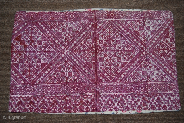 Antique embroidery (pillowcase) from Fes/Morocco 19th c., 34 x 52 cm, embroidery in silk on linen, good condition