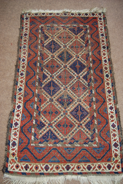 Old Baluch rug, 74 x 132 cm, traces of use