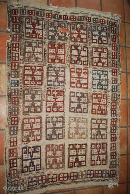 Antique Shasavan/Caucasian/Azerbaijan verneh, 19th c., 105 x 161 cm, condition issues, wear, damages, holes