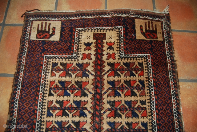 Old Baluch prayer rug with hands and tree of life design with camel hair, 78 x 150 cm, rather good condition with small kilim ends but with slight traces of use and  ...