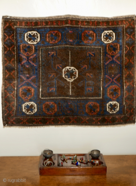 Very fine Baluch bag face,  NE Persia,  later 19th cent.,  with organic dyes of electric blue and orange,  a lovely green(slightly oxidized after a hundred years),  two  ...