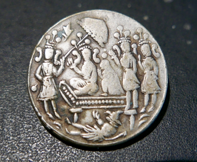Antique Hindu silver medallion/amulet;  19th c;  depicts a royal couple with their retinue on one side and,  on the other,  possibly,  a deity and his consort. 1  ...