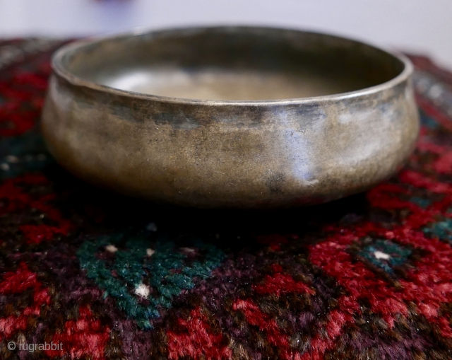 """Antique Hand-hammered Hindu Brass Bowl,  N India;  19th c;  7""""W x 1 3/4""""H  Incredible bowl,  ritual use(?),  with a rather primitive repeated motif around the floor of the  ..."""