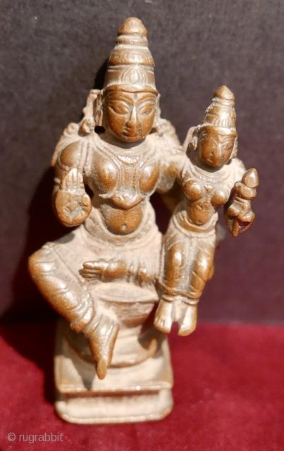18th c Hindu icon of 'Lakshminarayana' (The God 'Narayana(Vishnu) and His consort Goddess 'Lakshmi);  bronze;  Karnataka State,  S India.