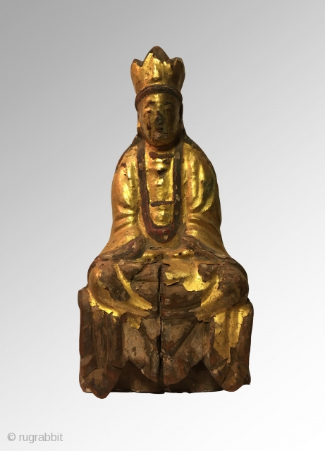 Chinese lacquered Guanyin in meditation