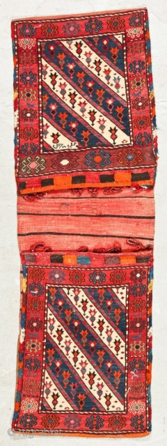 """Soumac-complete-Khorjin-saddlebags-1913-signed-17"""" x 50""""  These bags were originally purchased at a collector's estate auction some years ago. I have enjoyed them. They are dated 1913 after translation from the Arabic, and noted made by  ..."""