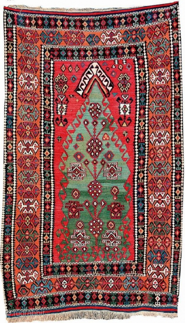 Kurdish Malatya 'Prayer Kilim', East Anatolia, circa 1900/1910, wool/part- cotton/wool, approx. 180 x 110 cm, green prayer field with cochenille colored Mihrabs, fine quality.  Acquired from a German collection.