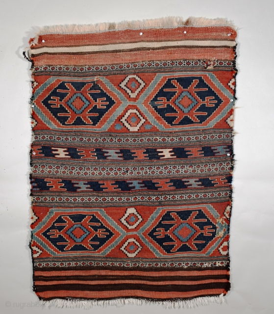 """Shahsavan-Moghan or, perhaps 'A Beauty Needing Loving Care', circa 1875, two mafrash panels have been sewed together to form one unit, the size now being 32"""" x 44"""" (81 x 111 cm),  ..."""