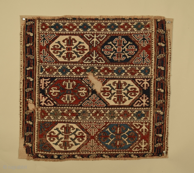 "East Caucasus bag face (sumac), Baku District, circa 1875, size 21"" x 20"" (53 x 50 cm), visual energy is injected into the field composition with subtle variance in color, prolific use  ..."