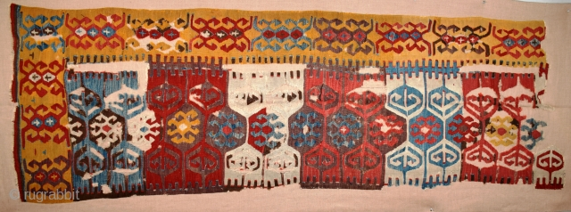 "Central Anatolian kilim fragment, 54"" x 125"" (137 x 317 cm), circa 1875, presents a simple yet bold composition that is capable of being 'read' horizontally as well as vertically thus making  ..."