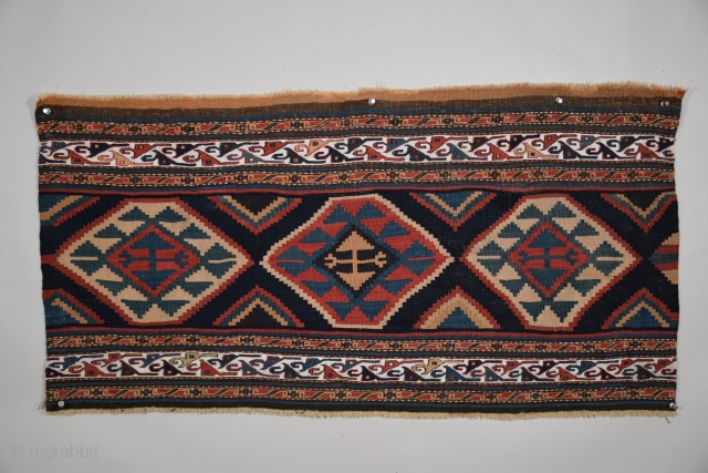 "Shahsavan Bedding Bag Panel (Moghan-Savalan), NE Azarbayjan, 40"" x 21"" (101 x 53 cm), circa 1850 or earlier, the central panel is done in slit-tapestry technique with extra-weft wrapping utilized in the  ..."